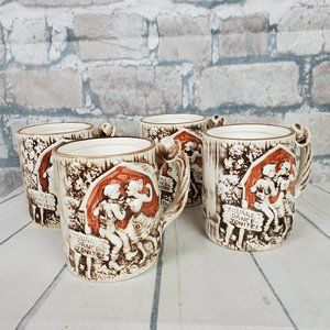 Vtg 1978 3D Square Dance Coffee Mugs Set of 4
